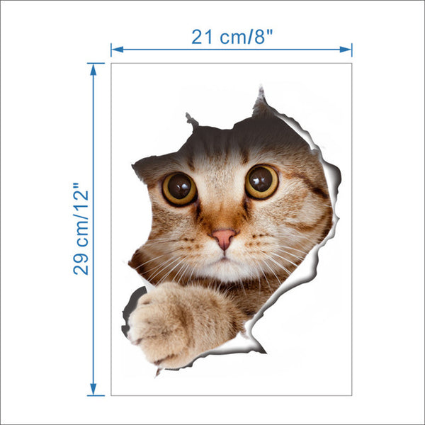 3D Hole View Vivid Cats Wall Sticker Bathroom Toilet Living Room refrigerator Decoration Animal Decals Art Sticker Wall Poster - Architecture Autocad Blocks,CAD Details,CAD Drawings,3D Models,PSD,Vector,Sketchup Download
