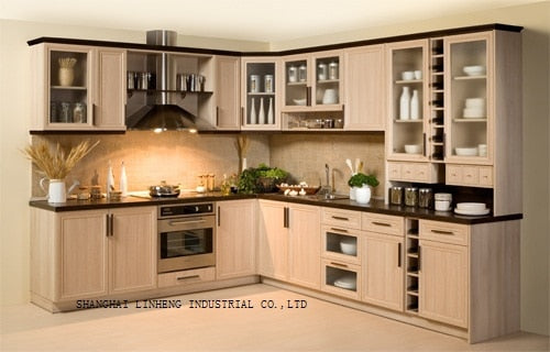 Modern solid wood  kitchen cabinet (LH-SW008)