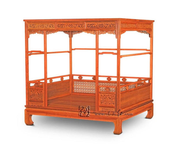 Chinese Classical Canopy bed Queen storage full double Bed Frame Pencil Post bed Solie Wood Bedroom furniture Luxury bedstead - Architecture Autocad Blocks,CAD Details,CAD Drawings,3D Models,PSD,Vector,Sketchup Download