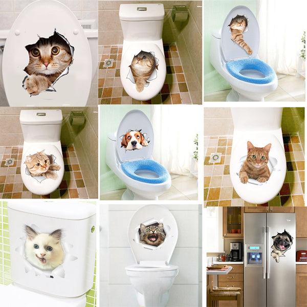 3D Effect Cats Toilet Switch Toilet Door Stickers Cartoon Refrigerator Wall Stickers Decals For Home Bathroom Decor Poster Mural - Architecture Autocad Blocks,CAD Details,CAD Drawings,3D Models,PSD,Vector,Sketchup Download