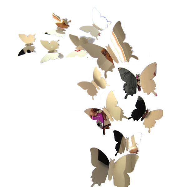 Wall Stickers Decal Butterflies 3D Mirror Wall Art Home Decors - Architecture Autocad Blocks,CAD Details,CAD Drawings,3D Models,PSD,Vector,Sketchup Download
