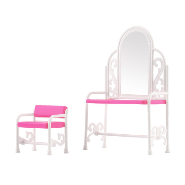 New Dressing Table & Chair Accessories Set For Barbies Dolls Bedroom Furniture - Architecture Autocad Blocks,CAD Details,CAD Drawings,3D Models,PSD,Vector,Sketchup Download