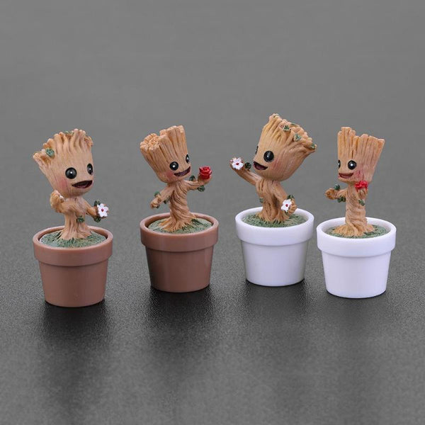 Mini Baby Groot Flowerpot Figure Collection Miniature Model Toy for Home Office Table Decoration Kids Gifts
