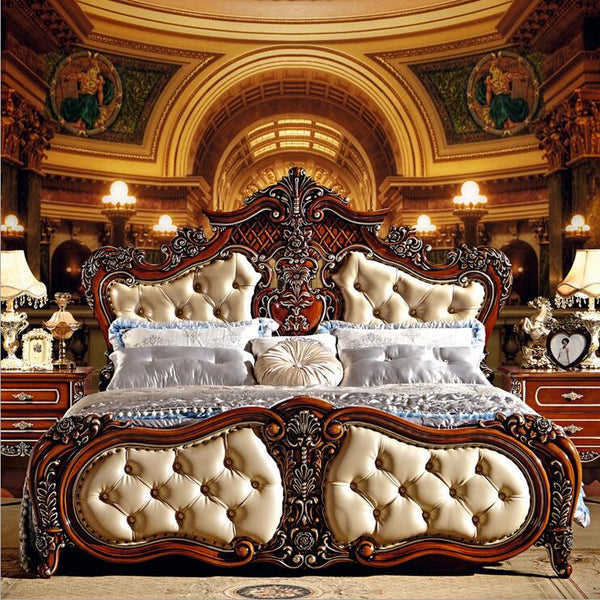 modern european solid wood bed Fashion Carved  1.8 m bed  french bedroom furniture 6592