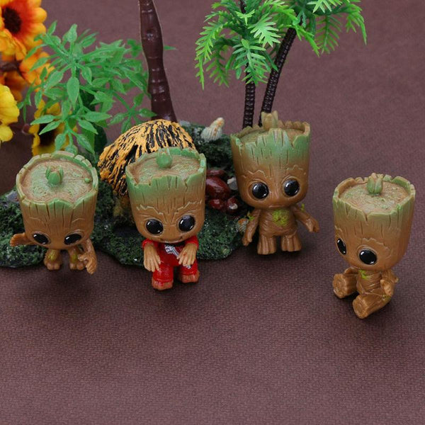 4Pcs Mini Baby Groot Keychain Toys for Kids Baby Treeman Keychain Pendant Action Figures Table Decoration