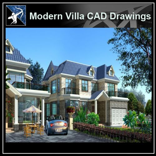 ★Modern Villa CAD Plan,Elevation Drawings Download V.17 - Architecture Autocad Blocks,CAD Details,CAD Drawings,3D Models,PSD,Vector,Sketchup Download