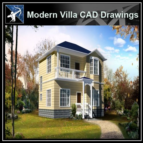 ★Modern Villa CAD Plan,Elevation Drawings Download V.12 - Architecture Autocad Blocks,CAD Details,CAD Drawings,3D Models,PSD,Vector,Sketchup Download