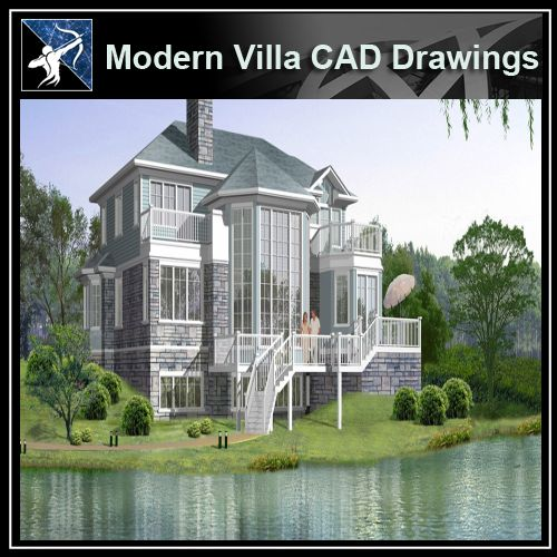 ★Modern Villa CAD Plan,Elevation Drawings Download V.18 - Architecture Autocad Blocks,CAD Details,CAD Drawings,3D Models,PSD,Vector,Sketchup Download