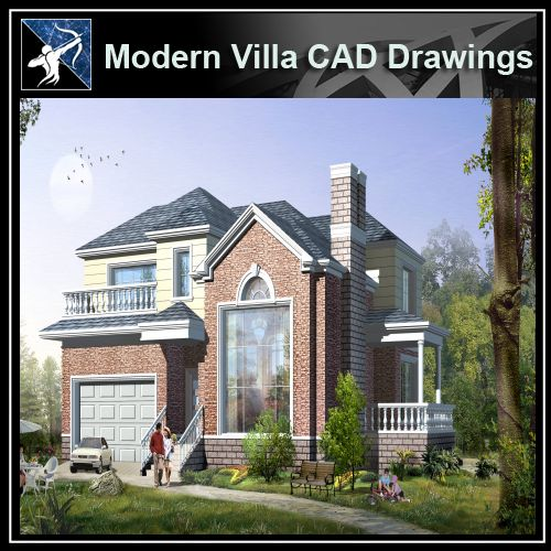 ★Modern Villa CAD Plan,Elevation Drawings Download V.4 - Architecture Autocad Blocks,CAD Details,CAD Drawings,3D Models,PSD,Vector,Sketchup Download