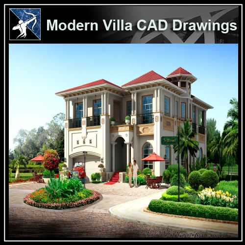 ★Modern Villa CAD Plan,Elevation Drawings Download V.2 - Architecture Autocad Blocks,CAD Details,CAD Drawings,3D Models,PSD,Vector,Sketchup Download
