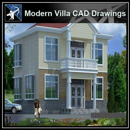 ★Modern Villa CAD Plan,Elevation Drawings Download V.1 - Architecture Autocad Blocks,CAD Details,CAD Drawings,3D Models,PSD,Vector,Sketchup Download
