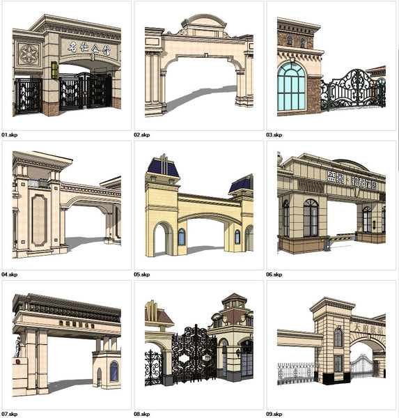 ★Sketchup 3D Models-9 Types of Neoclassicism Style Entrance Design Sketchup Models V.1