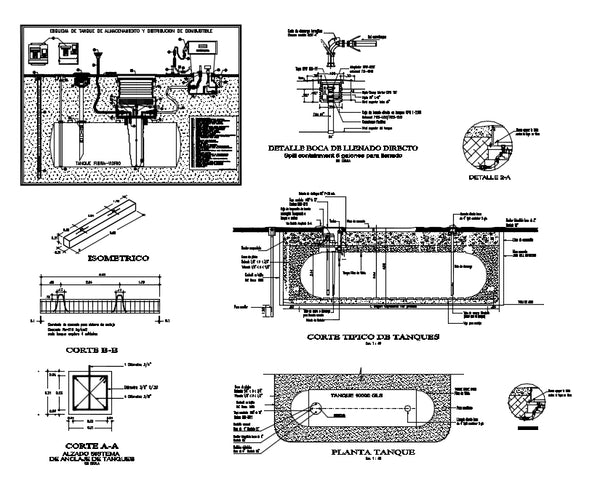 【CAD Details】Fual tank insttalations design and detail