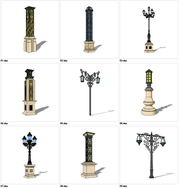 ★Sketchup 3D Models-9 Types of Neoclassicism Style Street light Sketchup Models V.1 - Architecture Autocad Blocks,CAD Details,CAD Drawings,3D Models,PSD,Vector,Sketchup Download