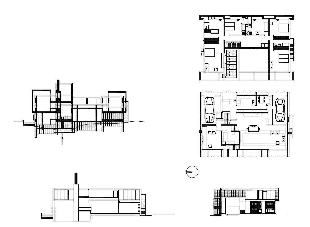 【Famous Architecture Project】Paul Rudolph -Milam House-Architectural CAD Drawings