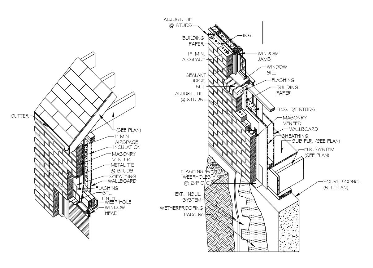 【Architecture Details】Typical Brick Stud Wall (ISO)