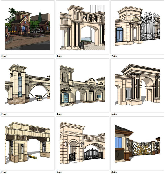 ★Sketchup 3D Models-9 Types of Neoclassicism Style Entrance Design Sketchup Models V.2 - Architecture Autocad Blocks,CAD Details,CAD Drawings,3D Models,PSD,Vector,Sketchup Download