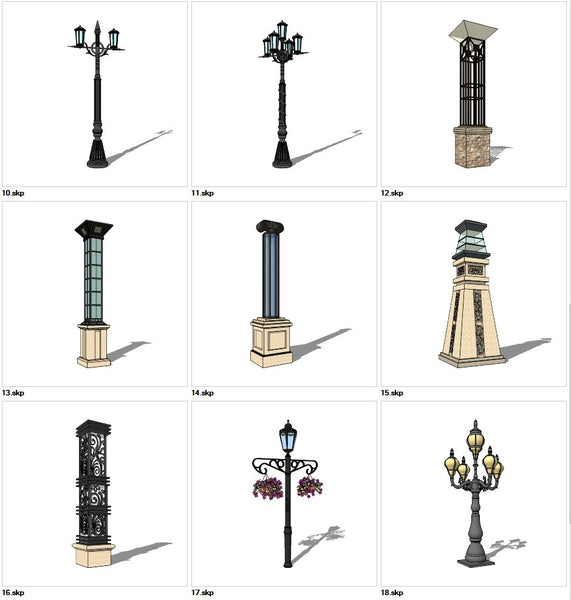 ★Sketchup 3D Models-9 Types of Neoclassicism Style Street light Sketchup Models V.2 - Architecture Autocad Blocks,CAD Details,CAD Drawings,3D Models,PSD,Vector,Sketchup Download