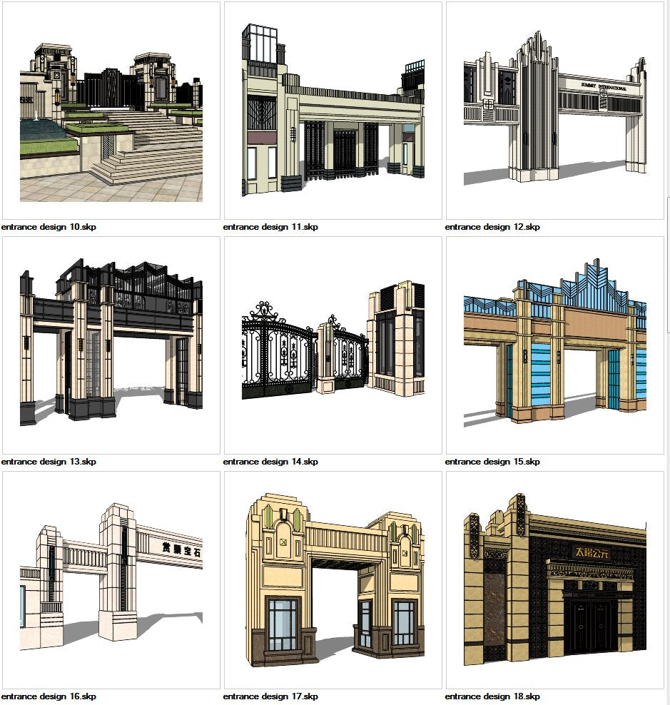 ★Sketchup 3D Models-9 Types of Artdeco Entrance Design Sketchup Models V 2