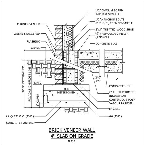 Brick Vector Picture Brick Veneers: ★Free CAD Details-Brick Veneer Wall @ Slab