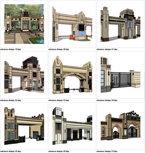 ★Sketchup 3D Models-9 Types of Artdeco Entrance Design Sketchup Models V.3 - Architecture Autocad Blocks,CAD Details,CAD Drawings,3D Models,PSD,Vector,Sketchup Download