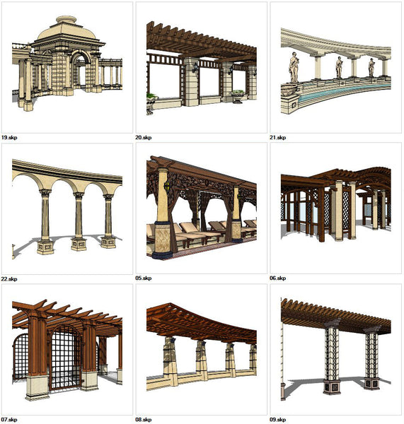 ★Sketchup 3D Models-9 Types of Landscape Gallery Sketchup Models V.3
