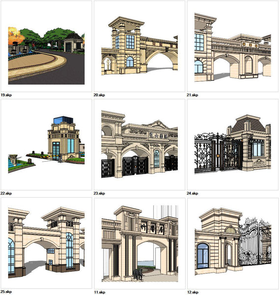 ★Sketchup 3D Models-9 Types of Neoclassicism Style Entrance Design Sketchup Models V.3