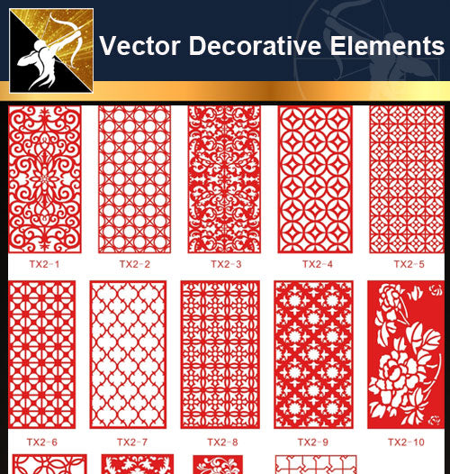 ★Free Vector Decoration Design Elements V.5-Download Illustration AI Vector Files - Architecture Autocad Blocks,CAD Details,CAD Drawings,3D Models,PSD,Vector,Sketchup Download