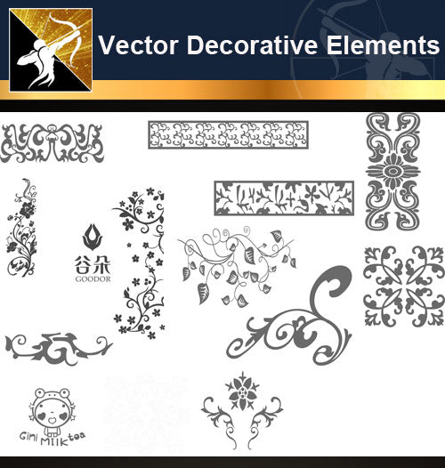 ★Free Vector Decoration Design Elements V.7-Download Illustration AI Vector Files - Architecture Autocad Blocks,CAD Details,CAD Drawings,3D Models,PSD,Vector,Sketchup Download