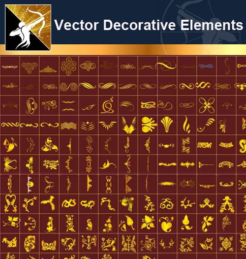 ★Free Vector Decoration Design Elements V.9-Download Illustration AI Vector Files - Architecture Autocad Blocks,CAD Details,CAD Drawings,3D Models,PSD,Vector,Sketchup Download