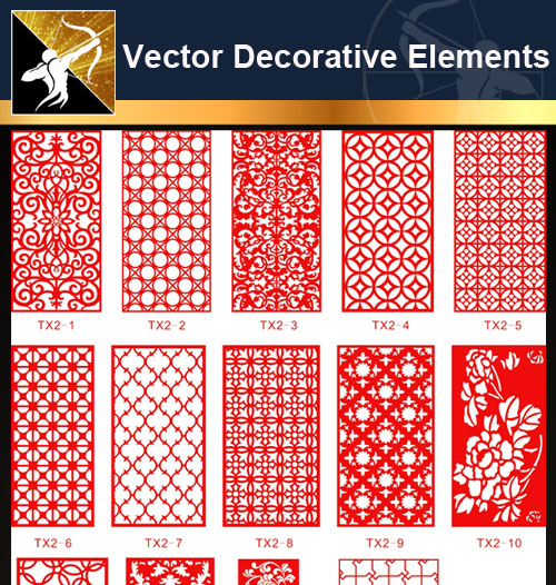 ★Free Vector Decoration Design Elements V.15-Download Illustration AI Vector Files - Architecture Autocad Blocks,CAD Details,CAD Drawings,3D Models,PSD,Vector,Sketchup Download