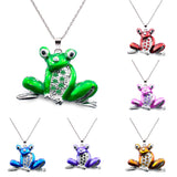 Sparkling Rhinestones Cute Frog Women Long Necklace-Pendant Necklaces-The Top Daily Deals