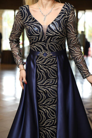 Elegant Trumpet Long Sleeve Sexy Fishtail Evening Dress