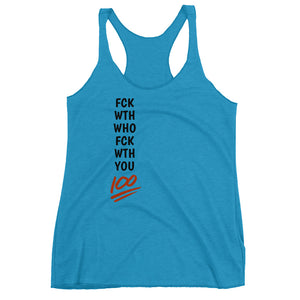"NewSense ""Fuck With Who Fuck With You"" Women's Racerback Tank - Black/Red letters - Assorted colors"