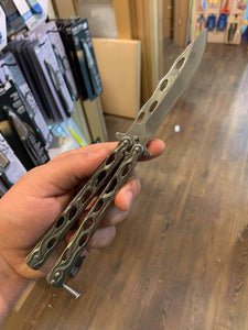 Silver Flames Butterfly Knife