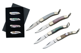"SZCO 4 PIECE 1.5"" MOTHER OF PEARL/ABALONE KEYCHAIN KNIFE SET SKU: 210614"