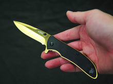 "S-tec 7.5"" Spring Assist Knife 3.5"" Titanium Gold Coated Blade"