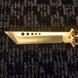 Gold Tanto Butterfly Knife w/ Dice Pattern, GC45GD, Balisong