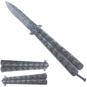 Chrome Skull Butterfly Training Knife