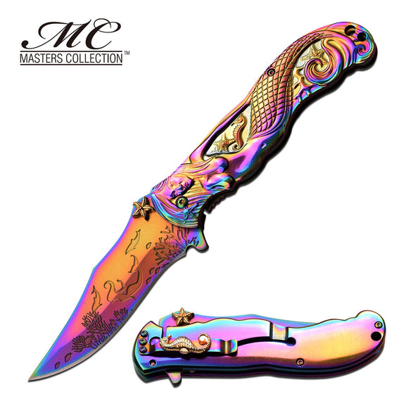 Mermaid MASTERS COLLECTION SPRING ASSISTED KNIFE reainbow