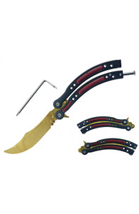 "csgo 9 5/8"" Butterfly Trainer w/ Dull Blade gold red and black tiger"