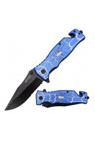 "8"" Spring Assisted Folding Knife Blue/Silver Spider Handle"