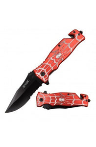 "8"" Spring Assisted Folding Knife Red/Silver Spider Handle"