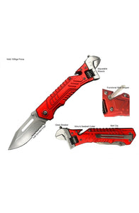 "8.75"" S-TEC Spring Assisted Wrench Folding Knife 2nd Gen. Red"