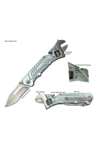"8.75"" S-TEC Spring Assisted Wrench Folding Knife 2nd Gen. Silver"