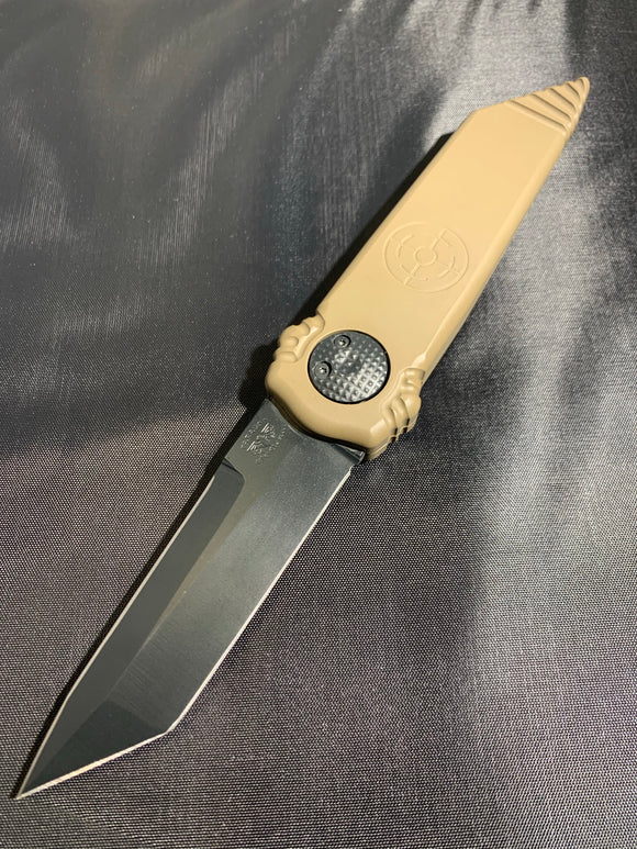 Paragon Dredd Lock Knife FLAT DARK EARTH Cerakote Aluminum Handle s30v Tanto Blade Double Edge