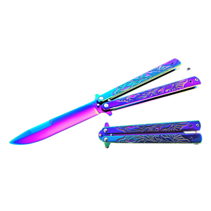 "9"" Overall Butterfly Training Knife rainbow"