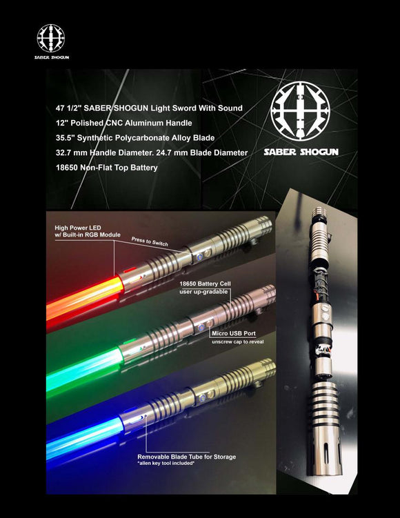 Battle Ready Light Saber - Tri-color (red, green, blue) deluxe version with sound!