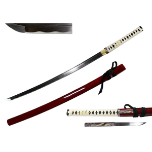 "41"" 1045HC Hand Forge Samurai Sword with knife, red"