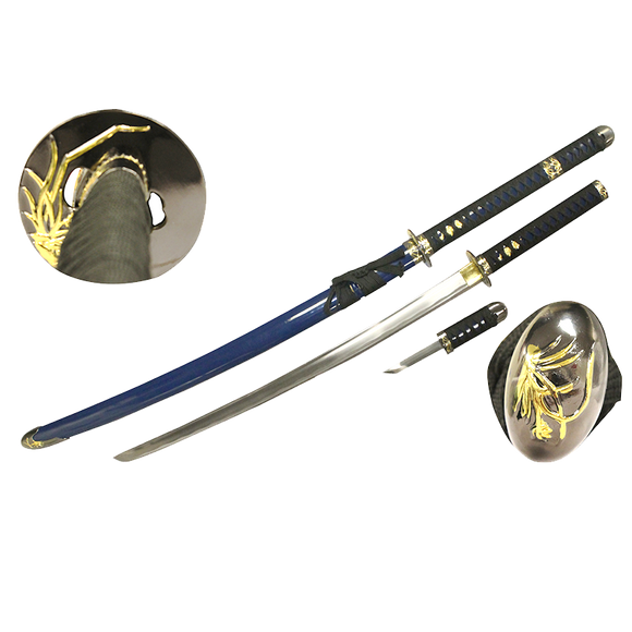 Gold Orchid Tsuba, Blue Scabbard, Extra Dagger, 1045 high carbon steel blade